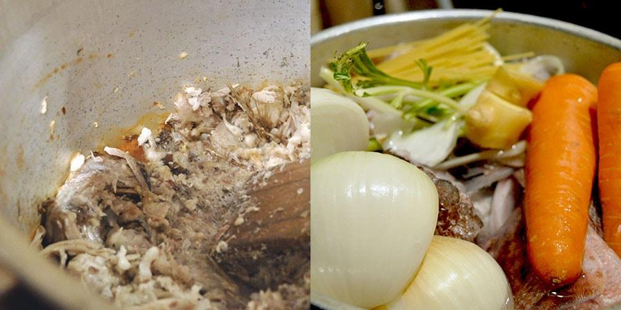 焦がした鯛と野菜のスープ